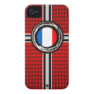 La bandera de Francia graba en relieve la caja roj iPhone 4 Case-Mate Cárcasa