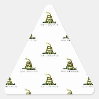 La bandera de Gadsden arrolló imagen tejada Calcomania De Triangulo Personalizadas