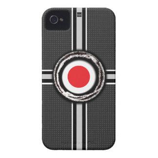 La bandera de Japón graba en relieve la caja negra iPhone 4 Case-Mate Funda