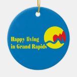 La bandera de la ciudad de Grand Rapids Ornamento De Reyes Magos