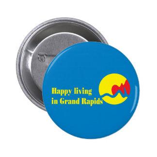 La bandera de la ciudad de Grand Rapids Pin Redondo 5 Cm