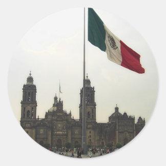 La Bandera de la estafa del EL Zocalo del DF del Pegatina Redonda
