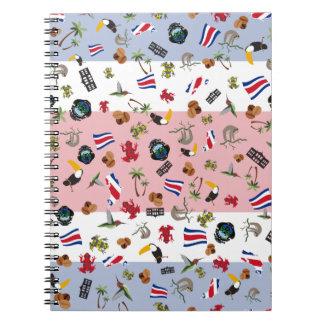 La bandera de la nación de Costa Rica Libros De Apuntes Con Espiral
