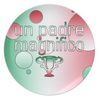 La bandera de la O N U Padre Magnifico Italia colo Plato De Comida