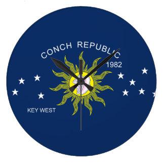 La bandera de la república de la concha reloj de pared