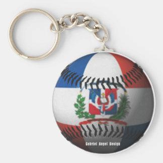 La bandera de la República Dominicana cubrió béisb Llavero Redondo Tipo Pin
