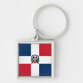 La bandera de la República Dominicana HACE Llavero Cuadrado Plateado
