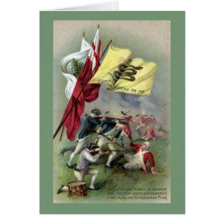 La bandera de la serpiente de cascabel en la batal tarjetas