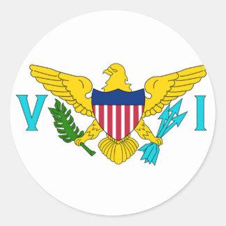 La bandera de las Islas Vírgenes de los E.E.U.U. Pegatina Redonda