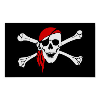 la bandera de pirata pirate-47705 deshuesa peligro póster