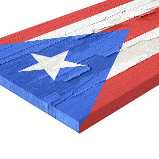 La bandera de Puerto Rico resistió a la pintura Impresión En Lienzo Estirada