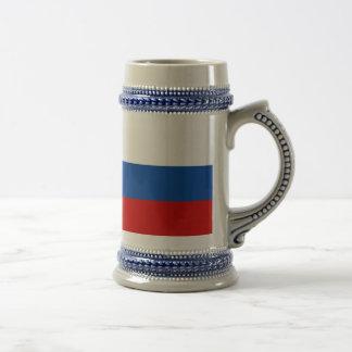 La bandera de Rusia Jarra De Cerveza