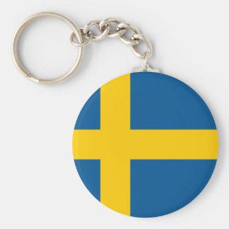 La bandera de Suecia Llavero Redondo Tipo Pin