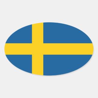 La bandera de Suecia Pegatina Ovalada
