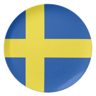 La bandera de Suecia Platos De Comidas
