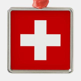 La bandera de Suiza Adorno Navideño Cuadrado De Metal