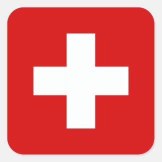 La bandera de Suiza Calcomanias Cuadradas