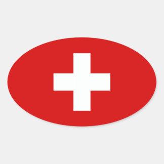 La bandera de Suiza Calcomanía De Óval