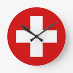 La bandera de Suiza Reloj De Pared