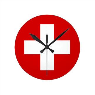 La bandera de Suiza Reloj Redondo Mediano