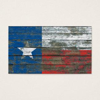 La bandera de Tejas en la madera áspera sube a Tarjetas De Visita