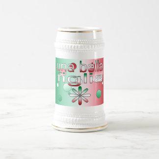 La bandera de Una Bella Figlia Italia colorea arte Tazas De Café