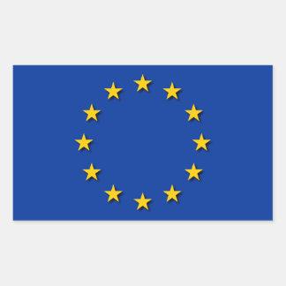 La bandera de unión europea UE señala por medio de Rectangular Pegatina