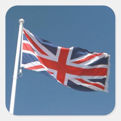 La bandera de Union Jack del Reino Unido Calcomanía Cuadrada