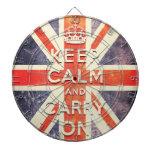 La bandera de Union Jack del vintage guarda calma  Tabla Dardos