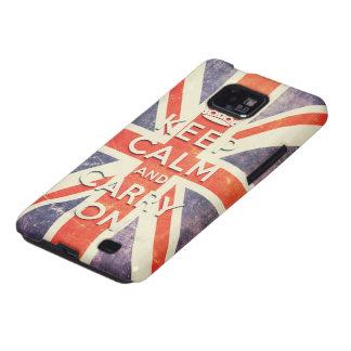 La bandera de Union Jack del vintage guarda calma Samsung Galaxy SII Fundas