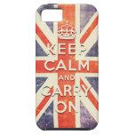 La bandera de Union Jack del vintage guarda calma  iPhone 5 Case-Mate Protector