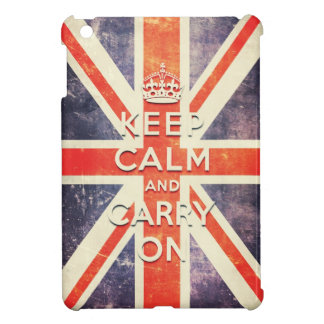 La bandera de Union Jack del vintage guarda calma  iPad Mini Cárcasa