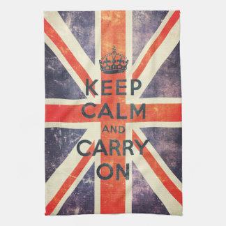 La bandera de Union Jack del vintage guarda calma  Toalla De Cocina
