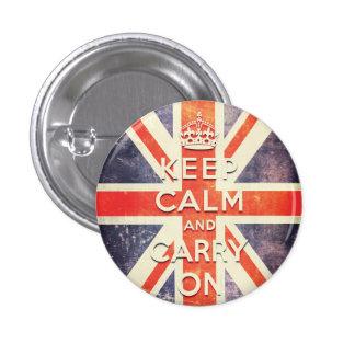 La bandera de Union Jack del vintage guarda calma  Pin Redondo 2,5 Cm
