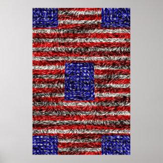 La bandera de Van Gogh de los Estados Unidos Póster