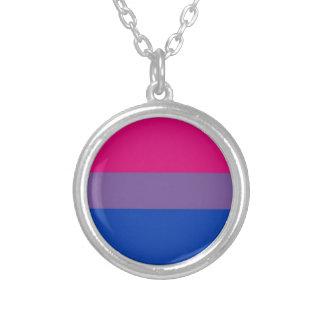 La bandera del BI vuela para el orgullo bisexual Collar Plateado