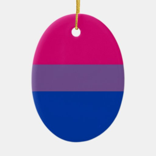 La bandera del BI vuela para el orgullo bisexual Adorno Ovalado De Cerámica