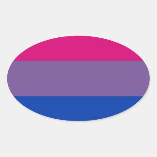 La bandera del BI vuela para el orgullo bisexual Calcomanías Óvales Personalizadas