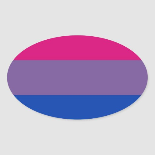 La bandera del BI vuela para el orgullo bisexual Pegatina Ovalada