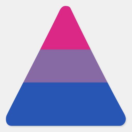 La bandera del BI vuela para el orgullo bisexual Pegatina Triangular