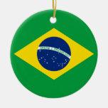 La bandera del Brasil Adorno Redondo De Cerámica