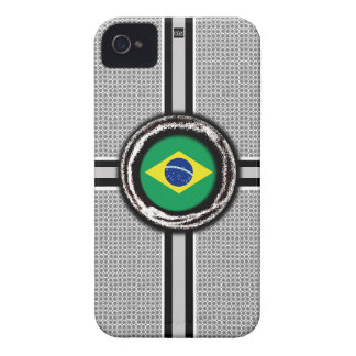 La bandera del Brasil graba en relieve la caja bla Case-Mate iPhone 4 Coberturas