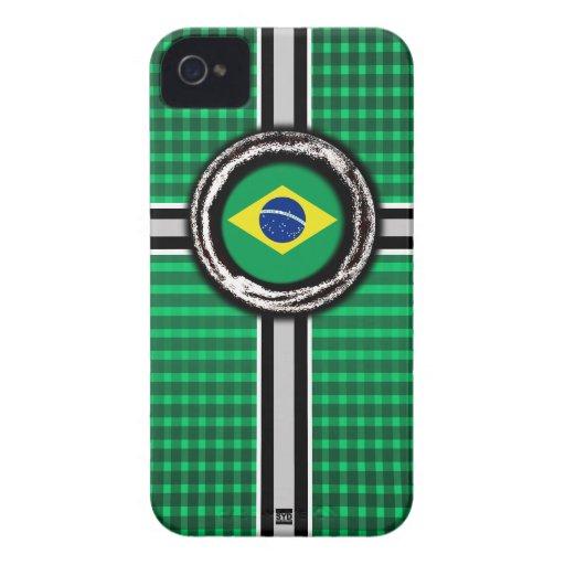 La bandera del Brasil graba en relieve la caja ver iPhone 4 Protector
