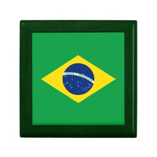 La bandera del Brasil Joyero Cuadrado Pequeño