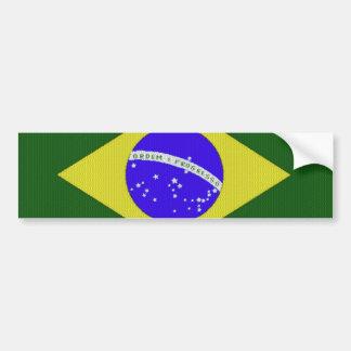 La bandera del Brasil tejó a la pegatina para el p Etiqueta De Parachoque