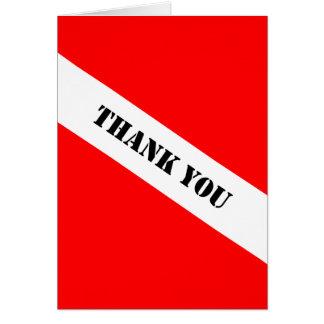 La bandera del buceo con escafandra le agradece tarjeta de felicitación