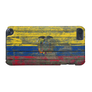 La bandera del Ecuadorian en la madera áspera sube Funda Para iPod Touch 5G