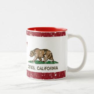 La bandera del estado de California Ceres Taza De Café De Dos Colores