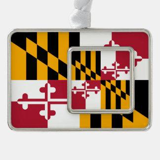 La bandera del estado de Maryland colorea estilo Marcos De Adorno Plateado