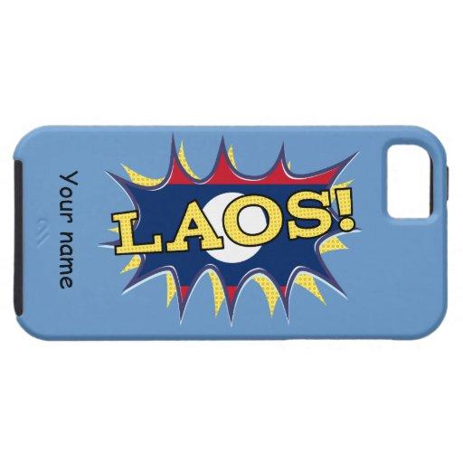 """La bandera del starburst de Laos """"KAPOW"""" iPhone 5 Carcasas"""